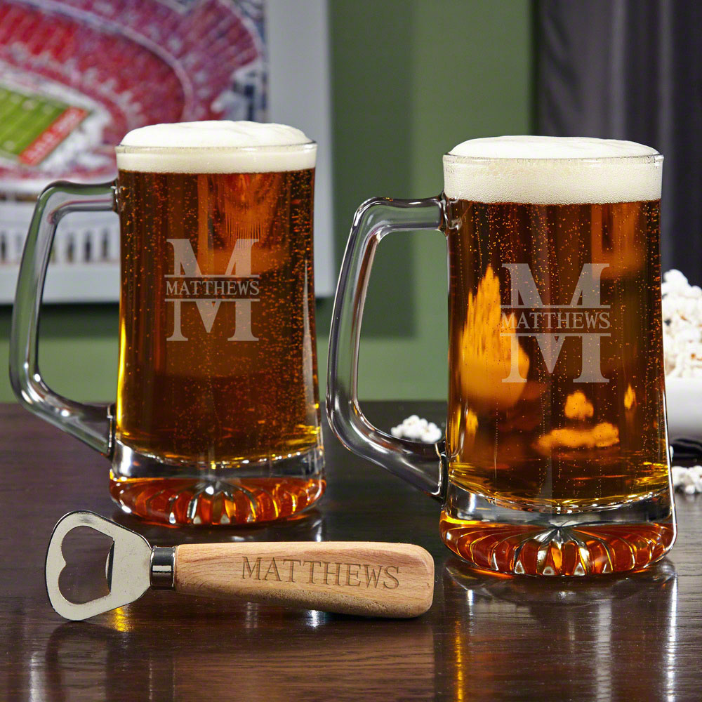 Oakmont Beer Mug Set with Custom Bottle Opener