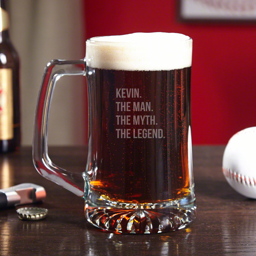 For the men who have never lost at beer pong, to the dads that can change a diaper in under a minute, and the grandpas who gave you your first sip of whiskey, we salute you with this personalized The Man The Myth The Legend beer mug. These durable mugs ar #mug