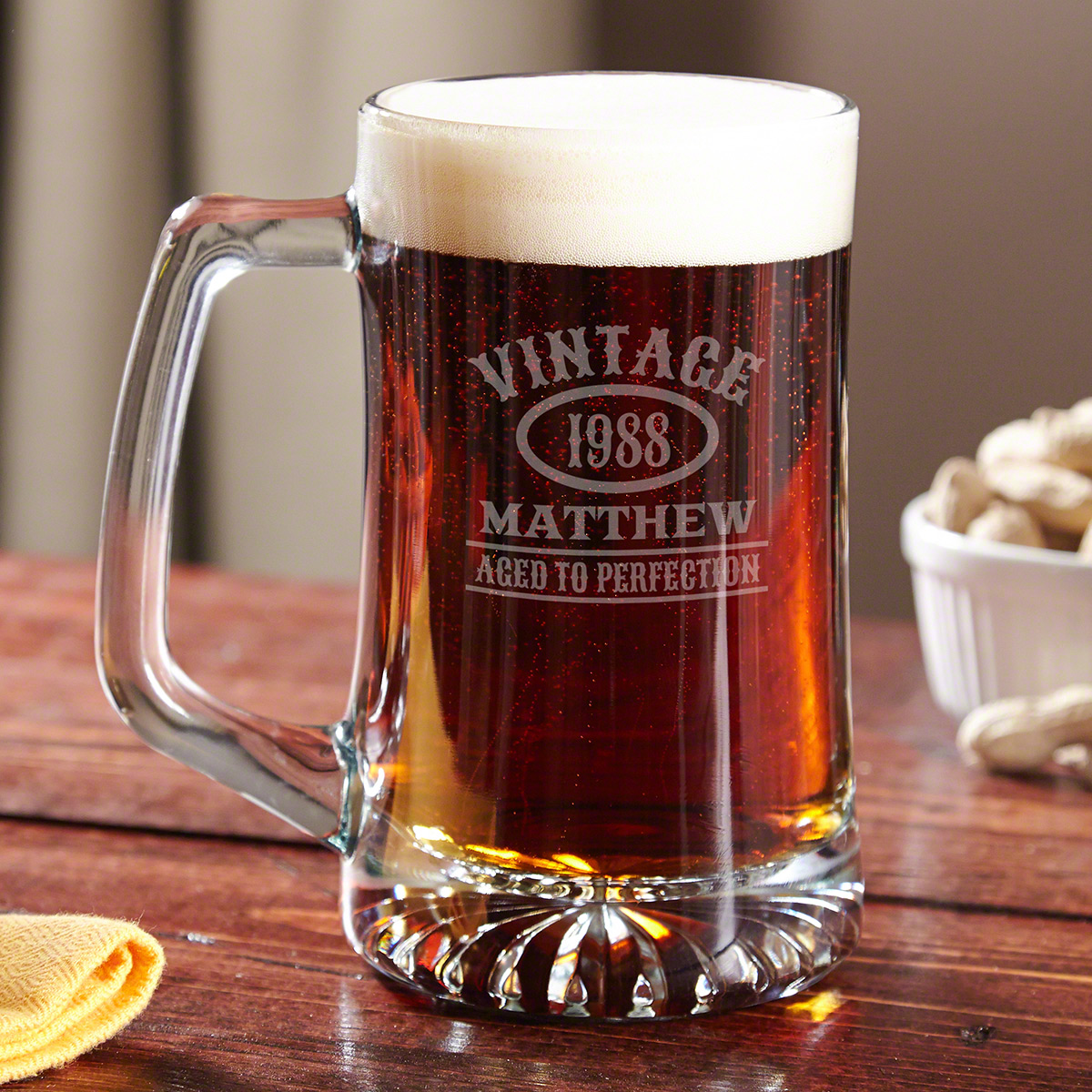 Since birthdays only come around once a year, you only get one chance to find the right gift. Impress that special someone with our Aged to Perfection personalized beer mug. These custom glass mugs are thick and durable with a traditionally styled wide b #mug