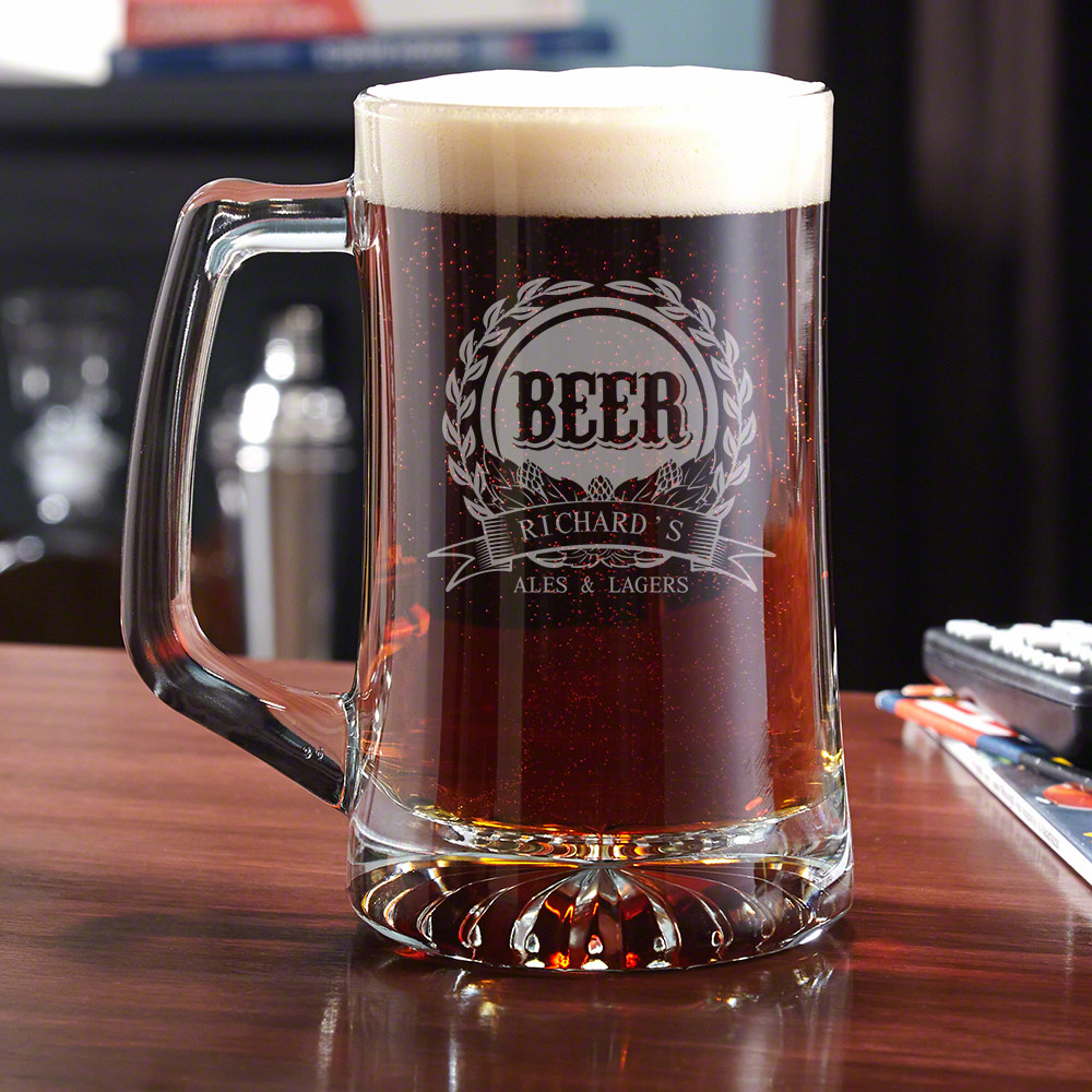 Pull up a stool and grab a cold one with our 25 ounce Mark of excellence beer glass. Featuring a traditional garland of barley and hops this beer glass comes personalized with your name of choice, and is the perfect drinking accessory for your ales and la #mug
