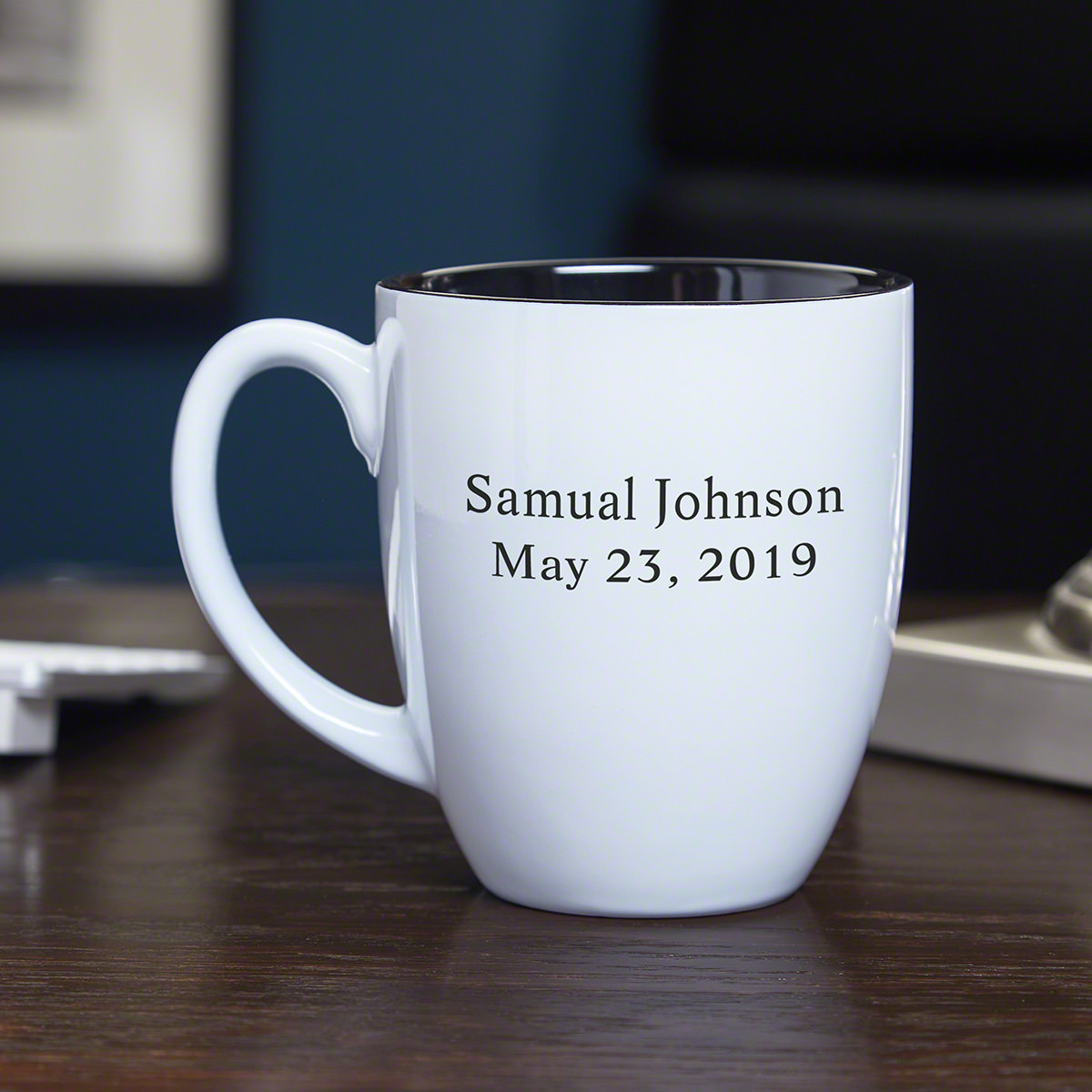 Whether at home or the office, everyone has their go-to morning beverage, and our BarElements Personalized Coffee Mug is the perfect way to drink it. Made with a dazzling white exterior, each ceramic cup comes engraved with up to two lines of custom text #mug