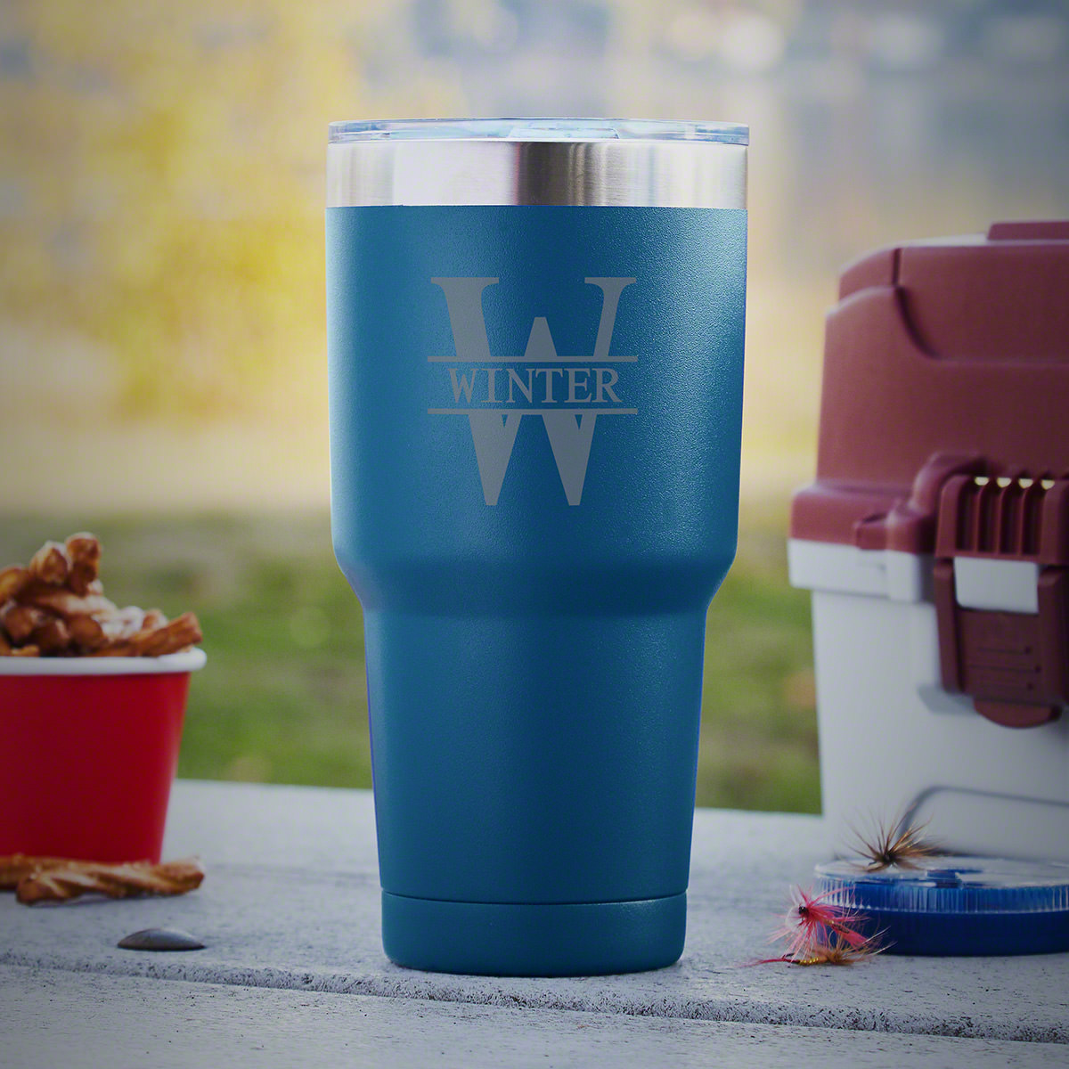 Oakmont Double-Wall Personalized Travel Mug - Blue