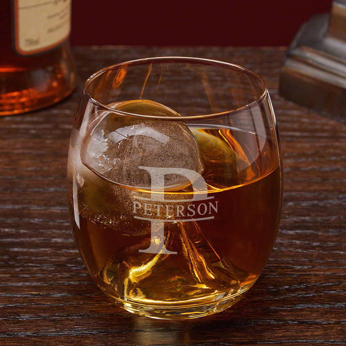 Oakmont Personalized Whiskey Glass with Ice Ball