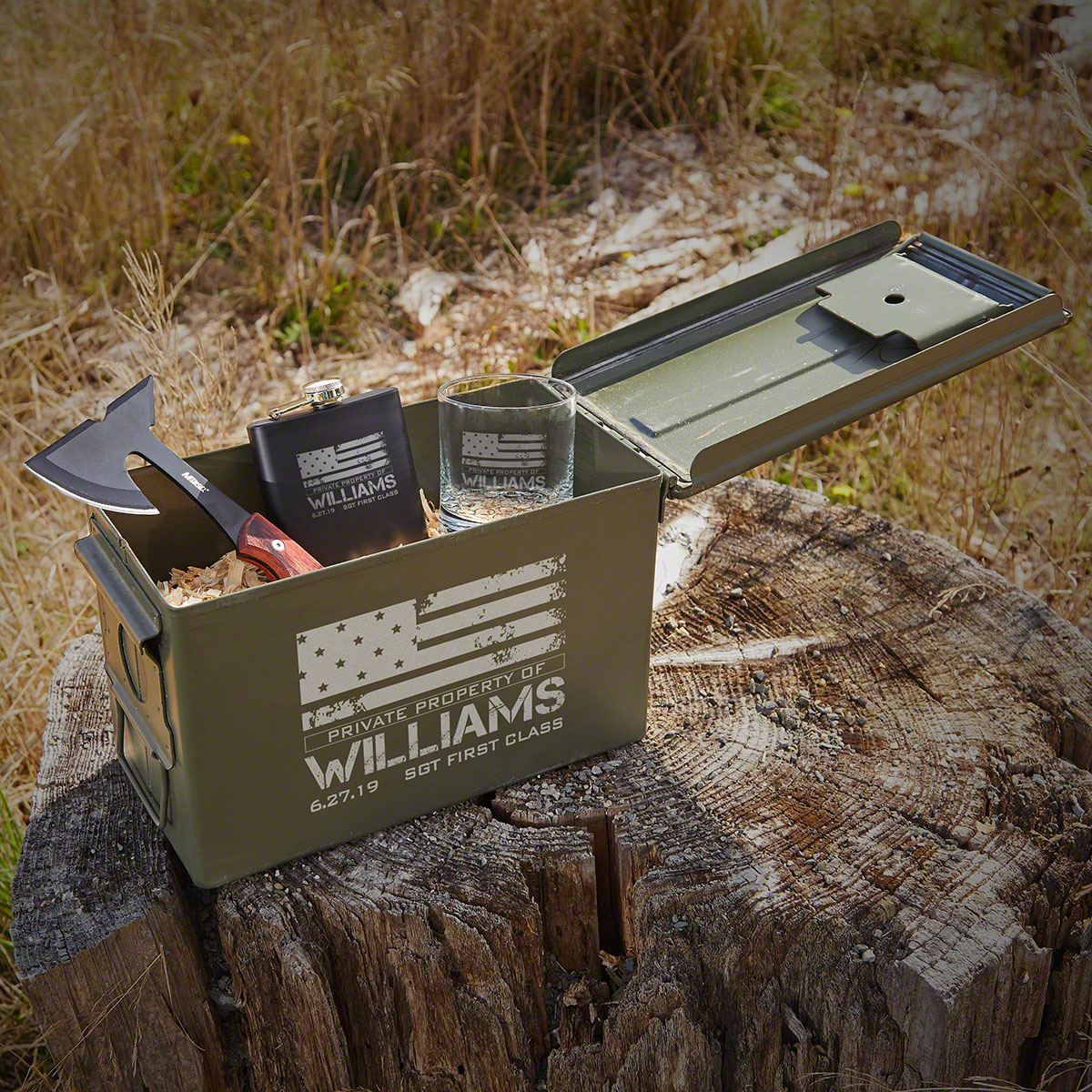American Heroes Tactical Hatchet and Bullet Box Customized Military Gift Set