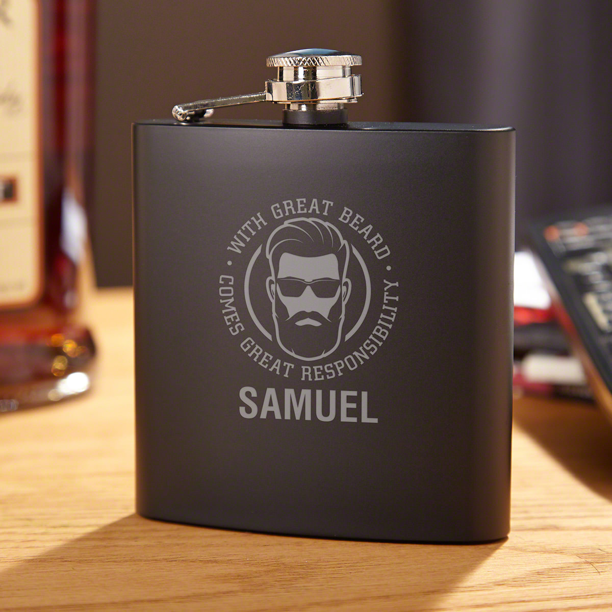 Great Beard, Great Responsibility Custom Engraved Whiskey Flask Beard Lover Gift