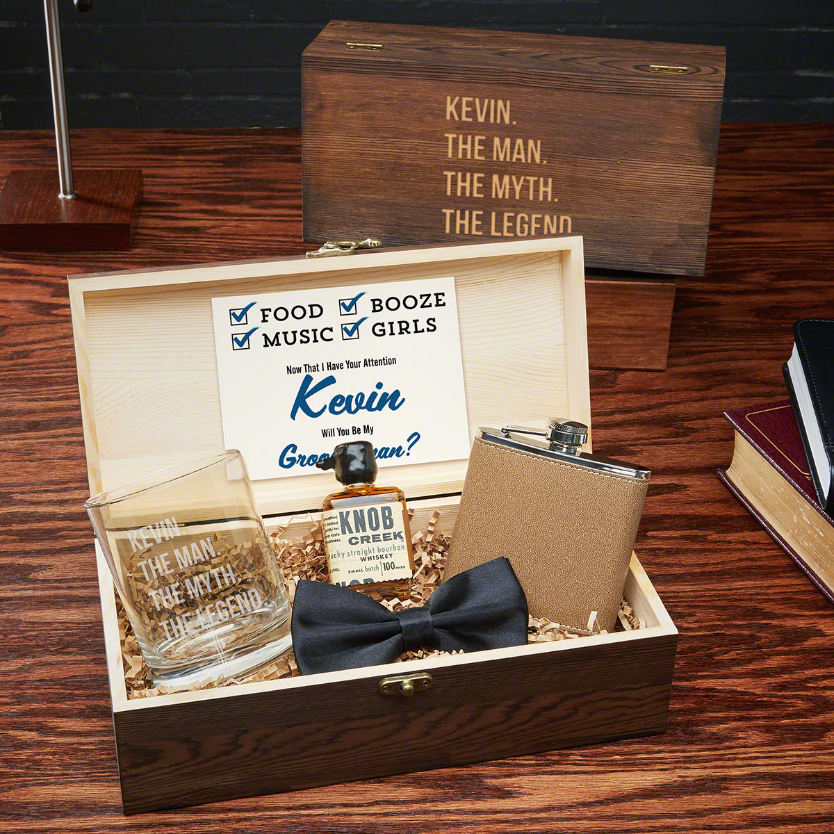 Wedding Gift For Best Man: Man The Myth Personalized Groomsmen Gift Box Set