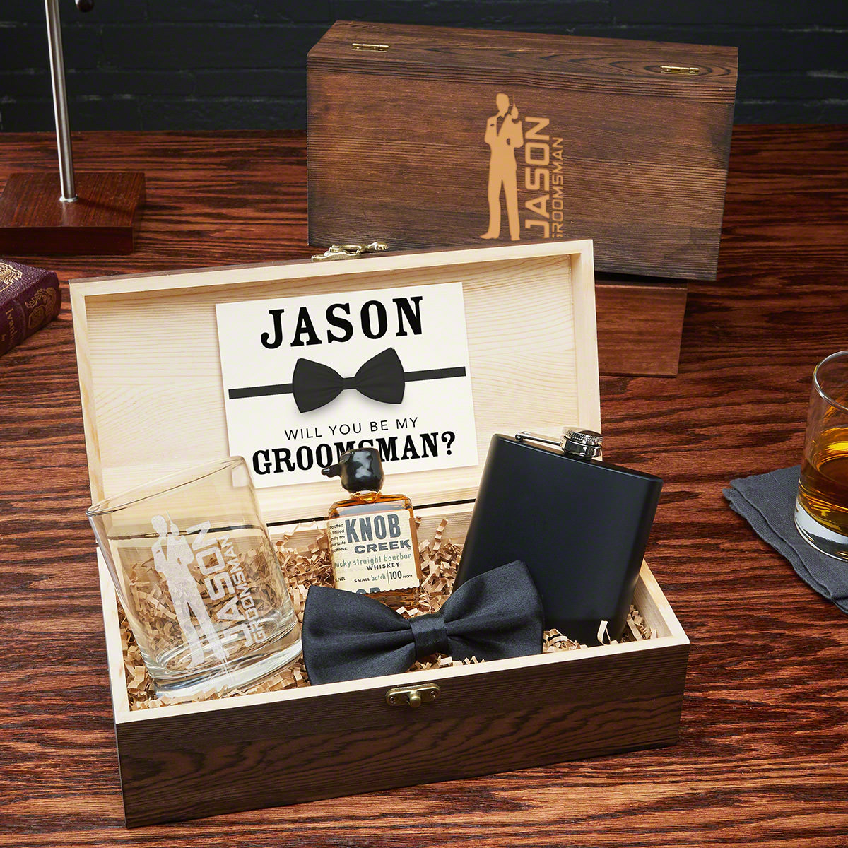 Secret Agent Blackout Edition Wooden Box Groomsmen Gift Set