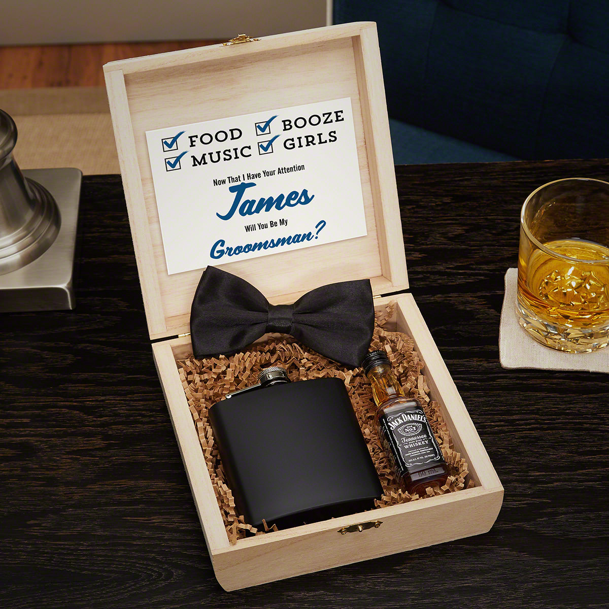 Maverick Blackout Edition Wooden Crate Groomsmen Gift Set