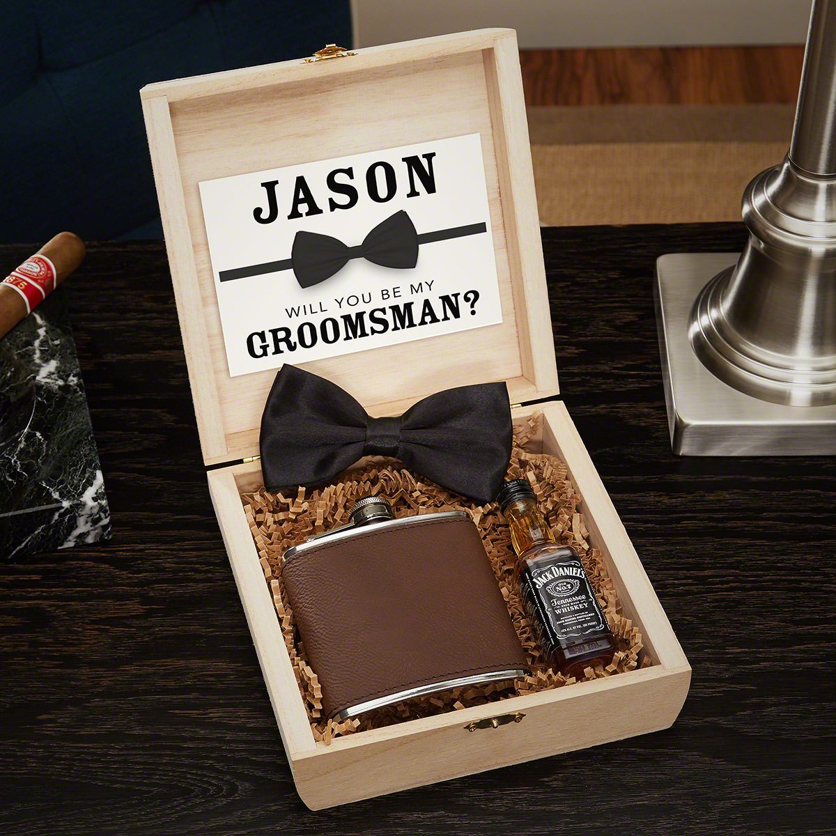 Classic Groomsman Engraved Cigar Humidor and Hip Flask Box Set