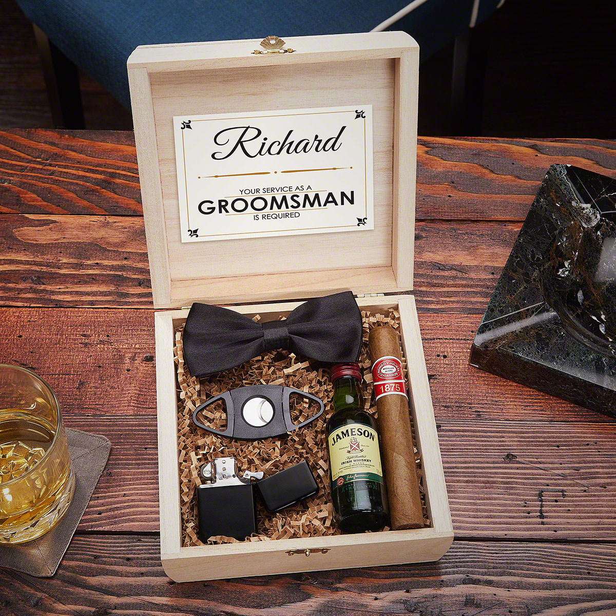 Drake Blackout Cigar Crate Groomsmen Gift Box Set