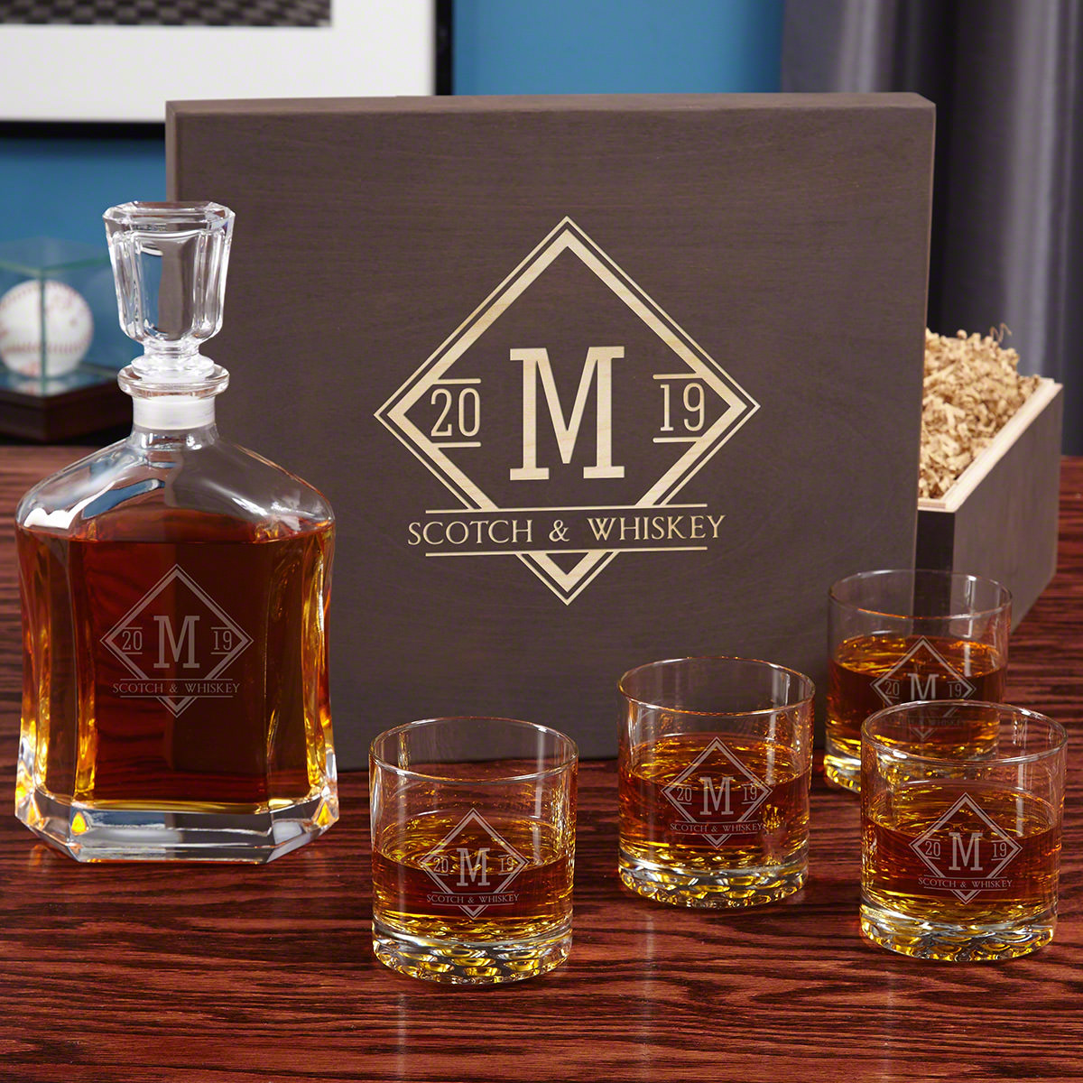 Drake Custom Etched Glass Whiskey Decanter Gift Set