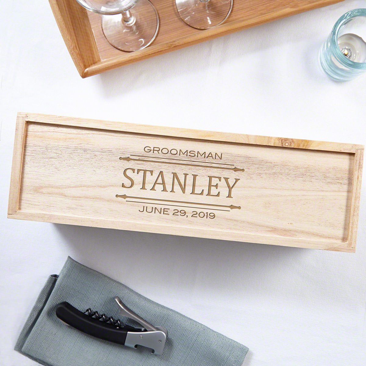 Stanford Engraved Wooden Wine Box Groomsmen Gift