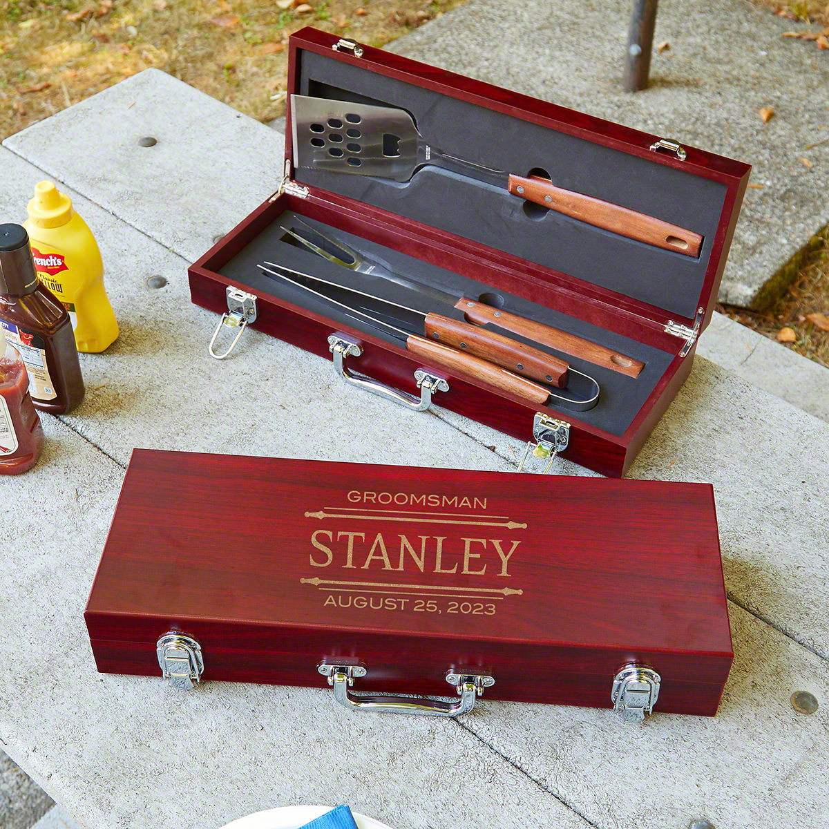 Stanford Grilling Tools Engraved Unique Groomsmen Gift Box Set