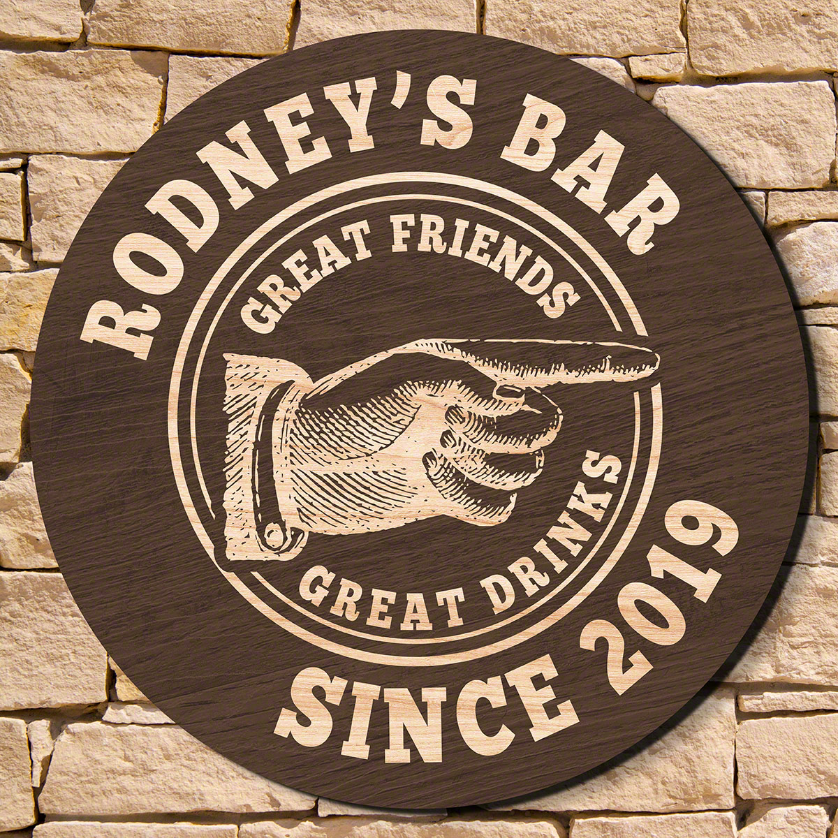 The only thing missing from your home bar is a way for guests to know which way to go for a drink when they arrive. Eliminate the need for giving directions with our vintage bar custom wooden welcome sign, which comes engraved with two lines of text and a #bar