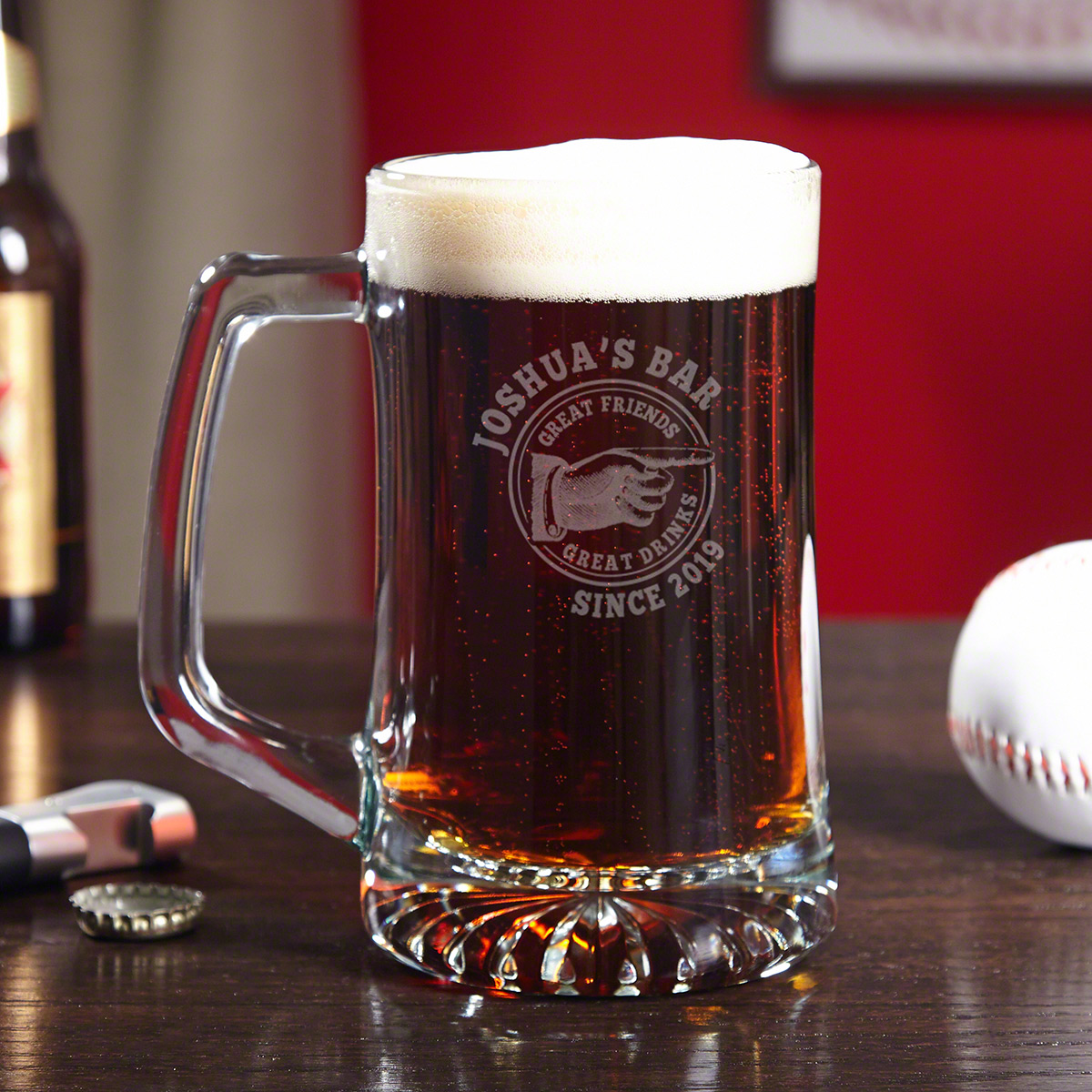 Vintage Bar Custom Etched Glass Beer Mug