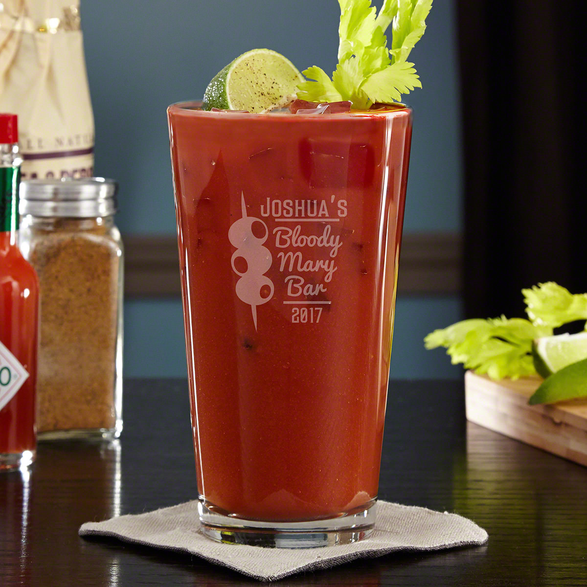 Late night weekend adventures sometimes means that a little hair-of-the-dog the next day is a mandatory antidote. Take brunch cocktail enjoyment up a notch with our bloody mary personalized pint glass, with its retro cursive font, trio of stacked olives, #bar