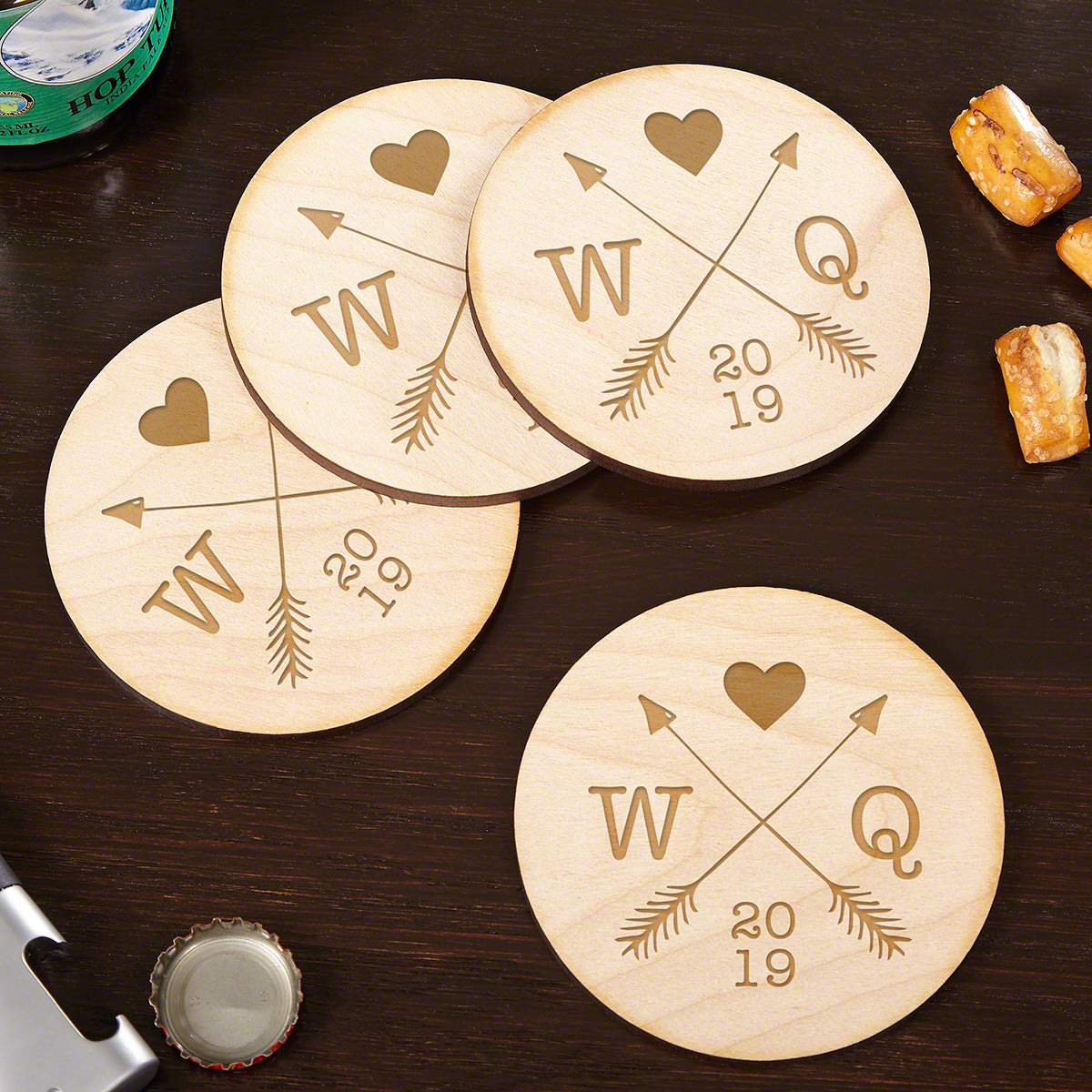 Whitby Crossed Arrows Customized Wooden Coasters for Couples