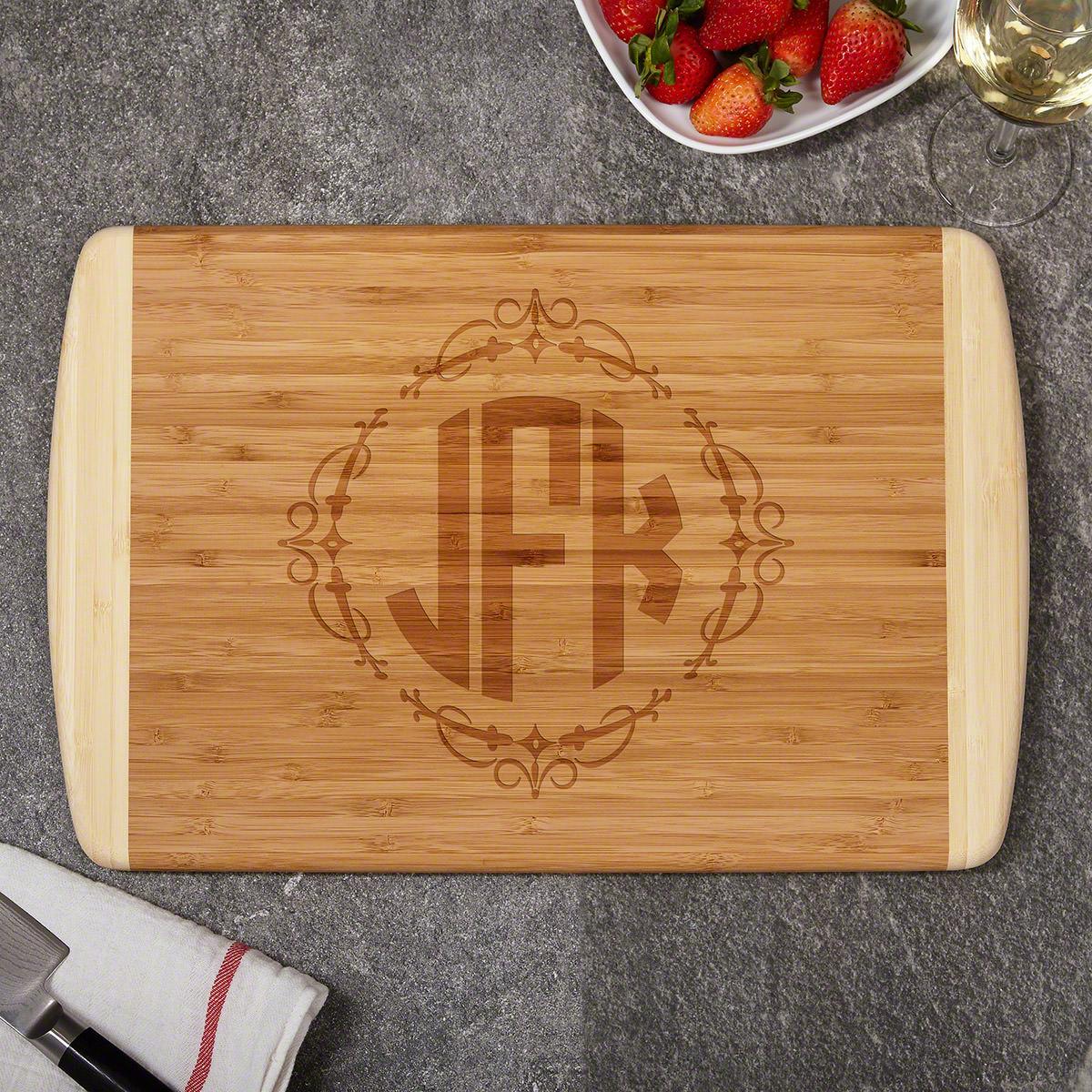 Wedding Monogram Custom Engraved Initials Bamboo Cutting Board