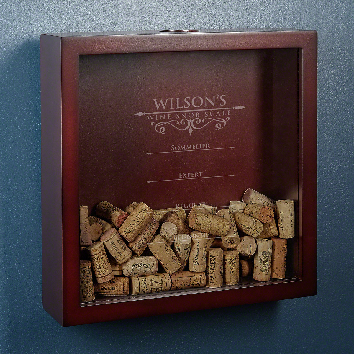 Essential Wine Snob Scale Cork Holder Engraved Shadow Box
