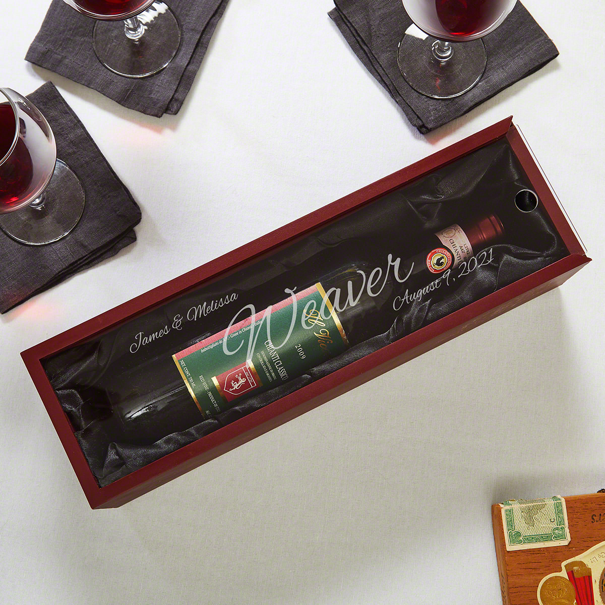 Evening to Remember Personalized Wooden Wine Gift Box