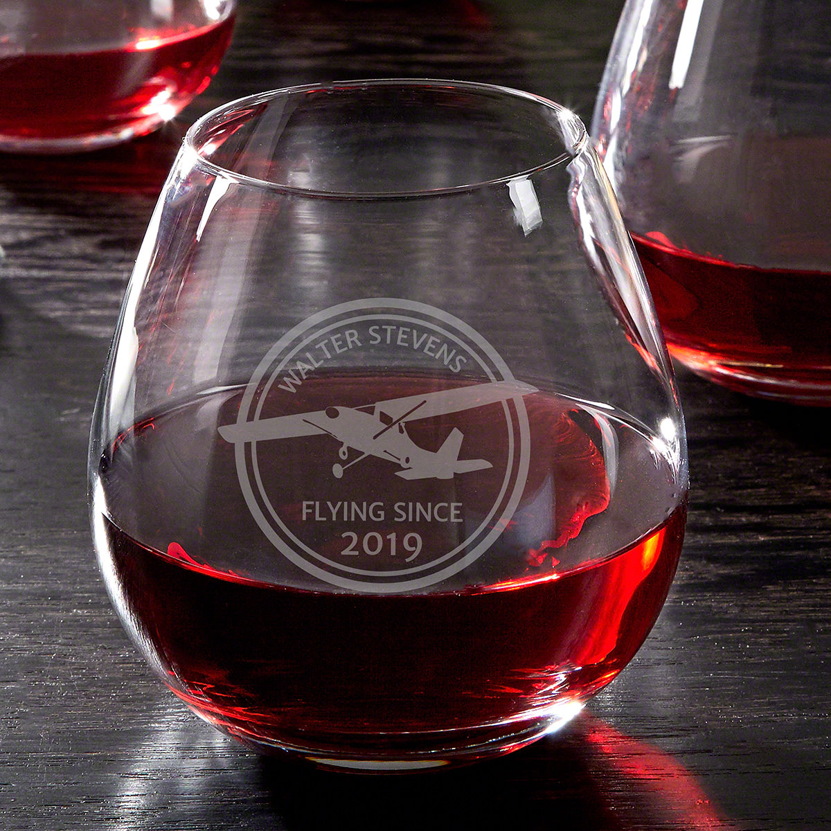 Aviator Custom Engraved Stemless Wine Glass
