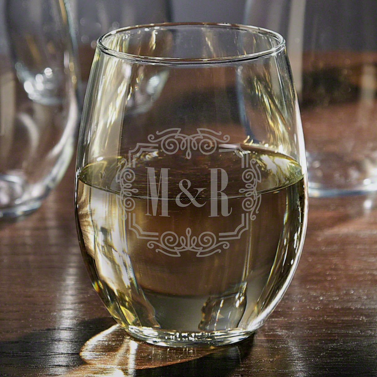 You & Me, Together Forever Personalized Stemless White Wine Glass