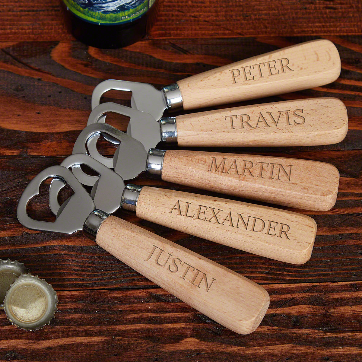 Personalized Wooden Bottle Opener Set for 5 Groomsmen