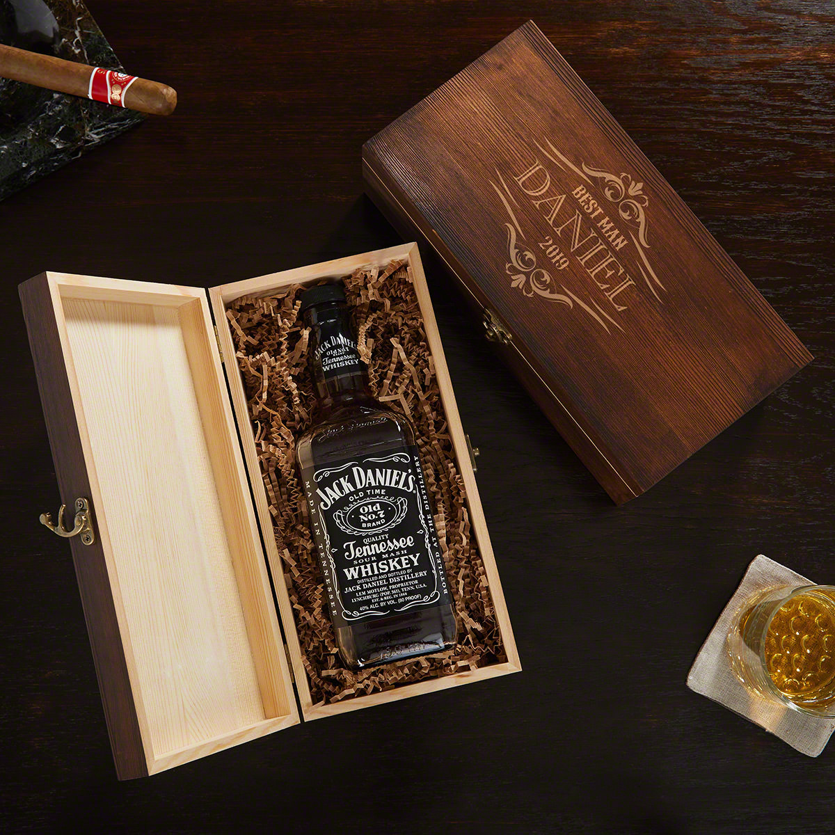 Wilshire Engraved Wooden Liquor Bottle Gift Set