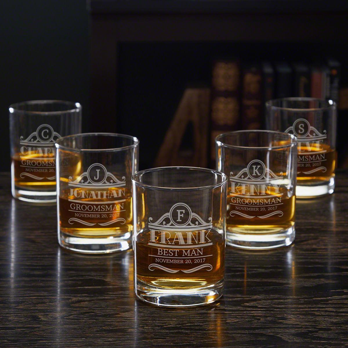 Rockefeller Eastham Groomsmen Whiskey Glasses - Set of 5