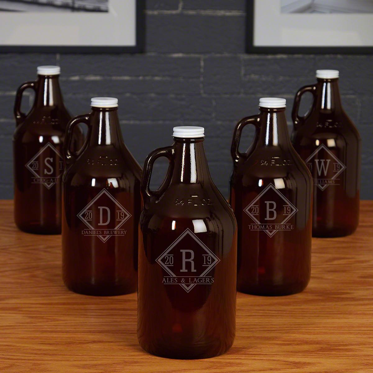Drake Amber Beer Growlers Custom Groomsmen Gifts - Set of 5
