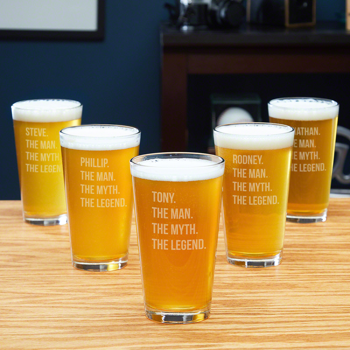 The Man The Myth The Legend Personalized Pint Glasses - For 5 Groomsmen