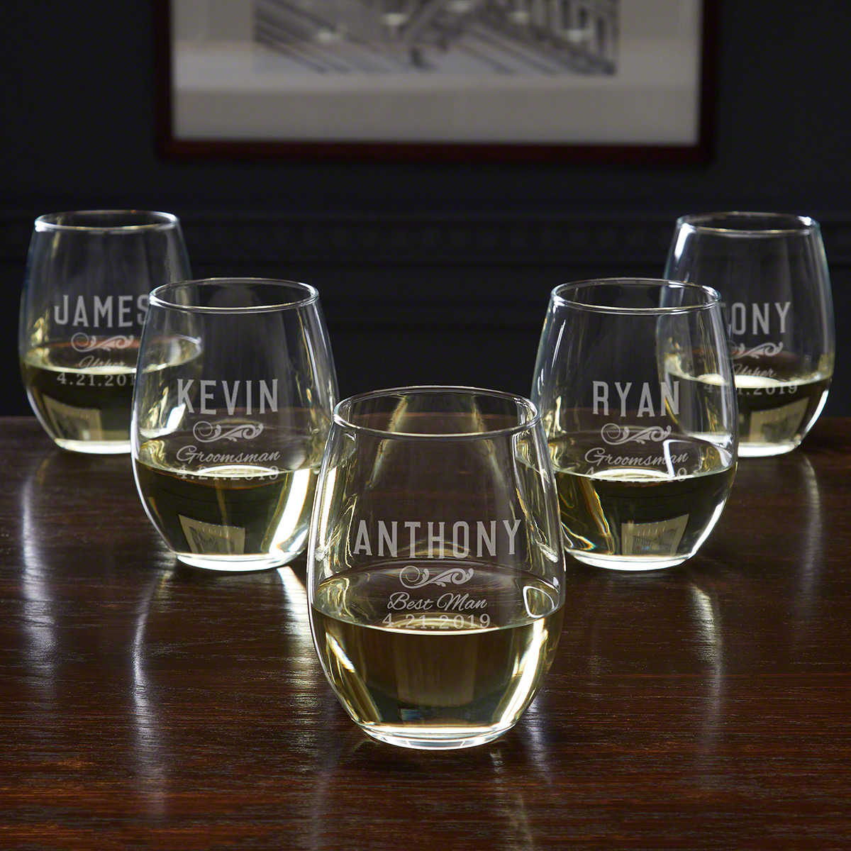 Classic Groomsman Personalized 5 Piece Set - Wedding Party Wine Glasses