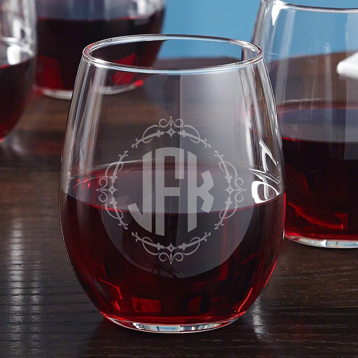 Wedding Monogram Stemless Wine Glass