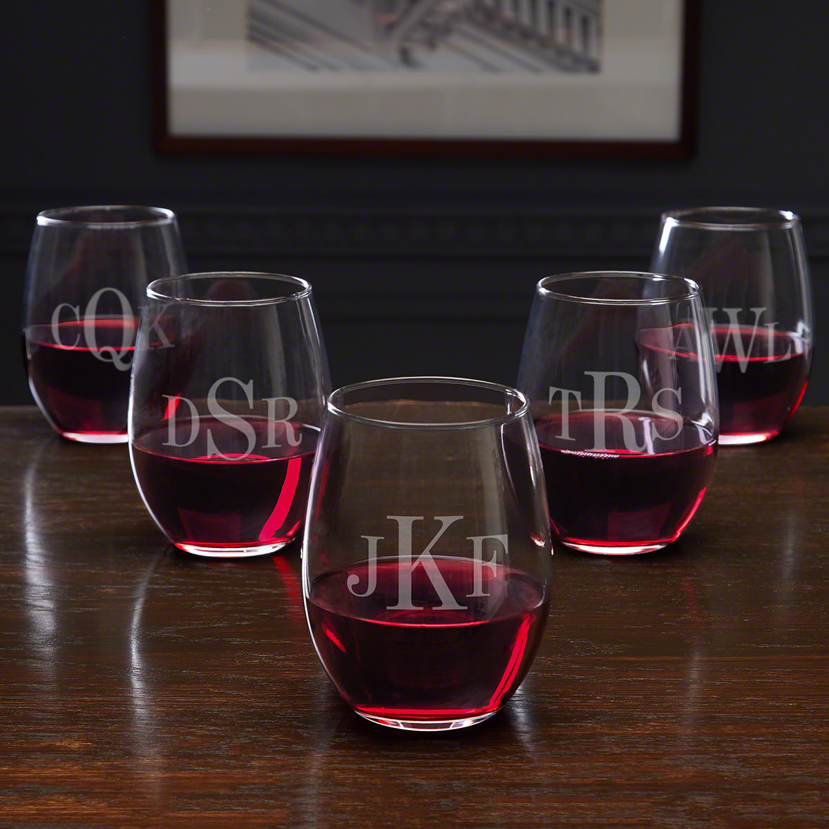 Classic Monogram Stemless Personalized Bridesmaid Wine Glasses - 5 Piece Set