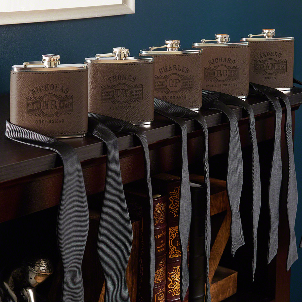 Marquee Fitzgerald Custom Flasks for Groomsmen – Set of 5