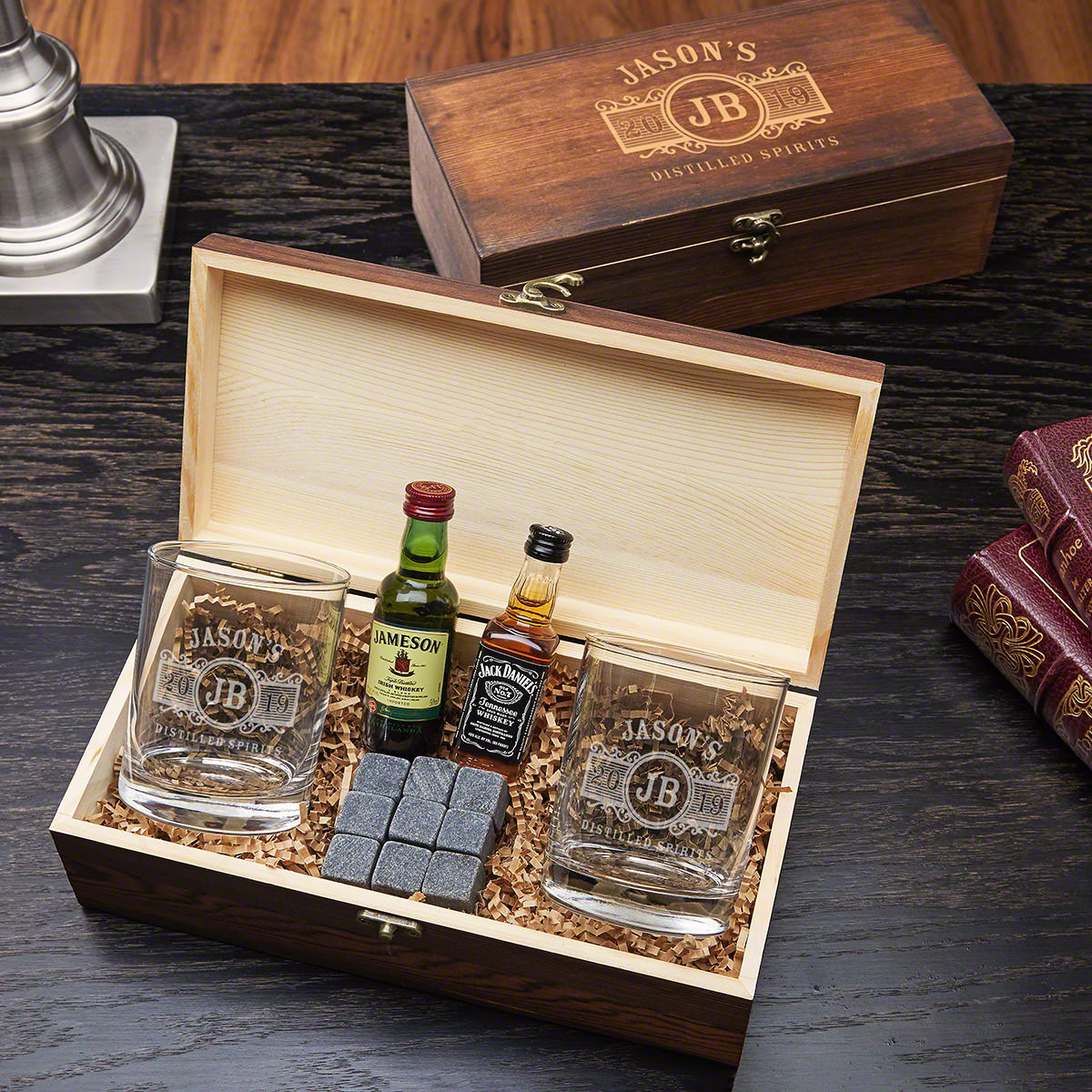 Marquee Engraved Glasses and Stones Gift Box Set for Whiskey Lovers
