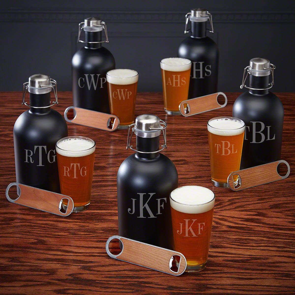 Personalized Classic Monogram Beer Growler Set - 5 Custom Groomsmen Gifts
