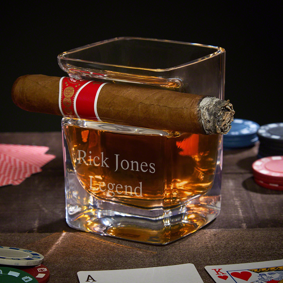 Personalized  Whiskey Cigar Glass Holder