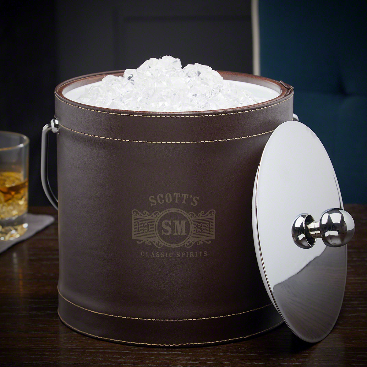Marquee-Personalized-Brown-Insulated-Ice-Bucket