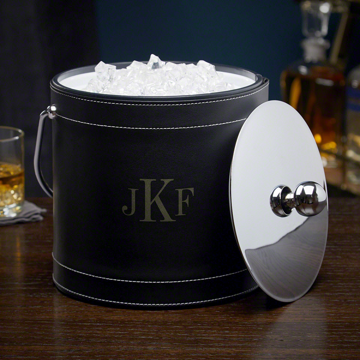 Classic-Monogram-Black-Personalized-Insulated-Ice-Bucket