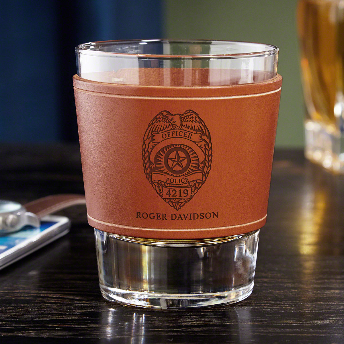 Police Badge Personalized Leather Wrap Whiskey Glass - Police Gift
