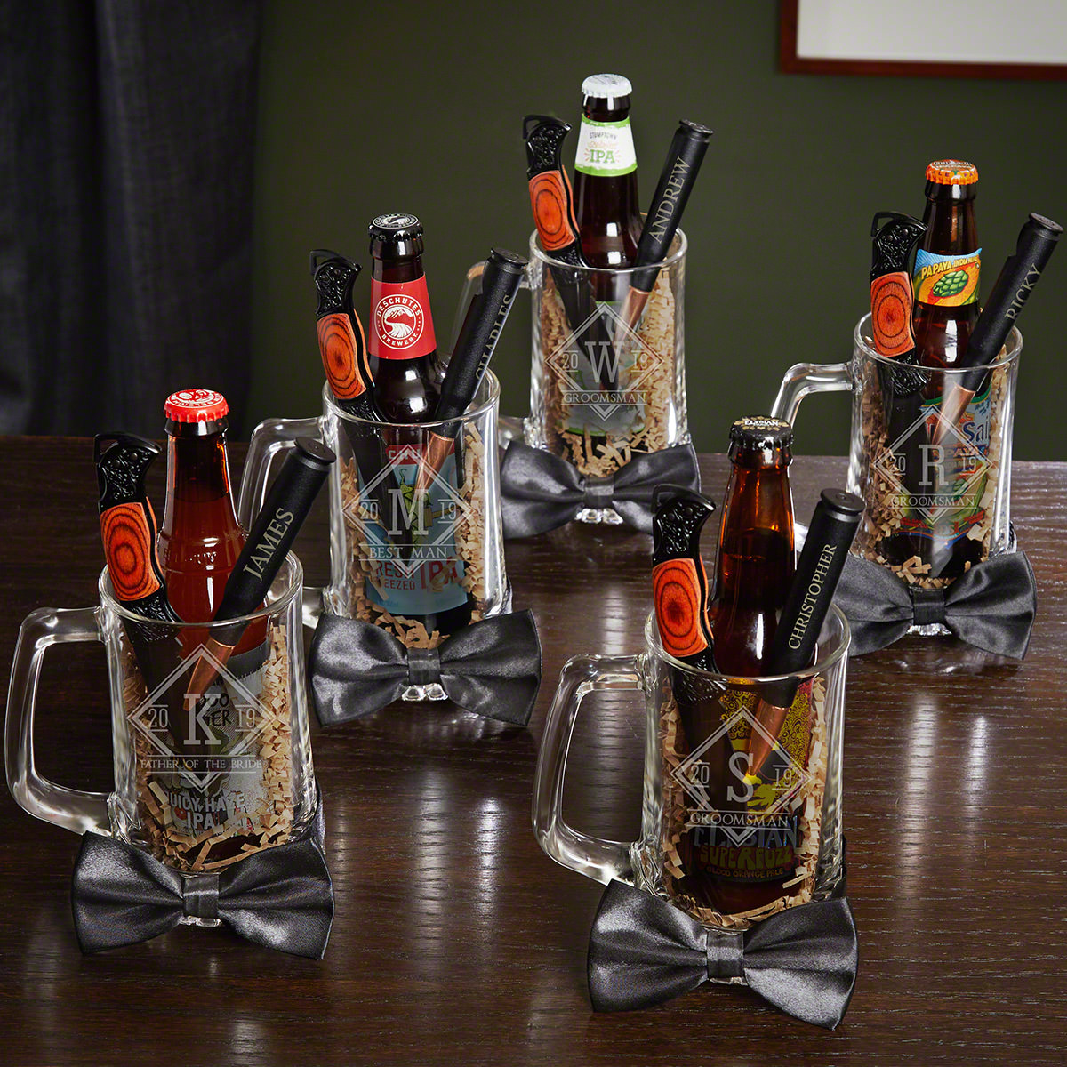 Drake Personalized Bottle Openers & Beer Mugs for Groomsmen – Gift Set for 5