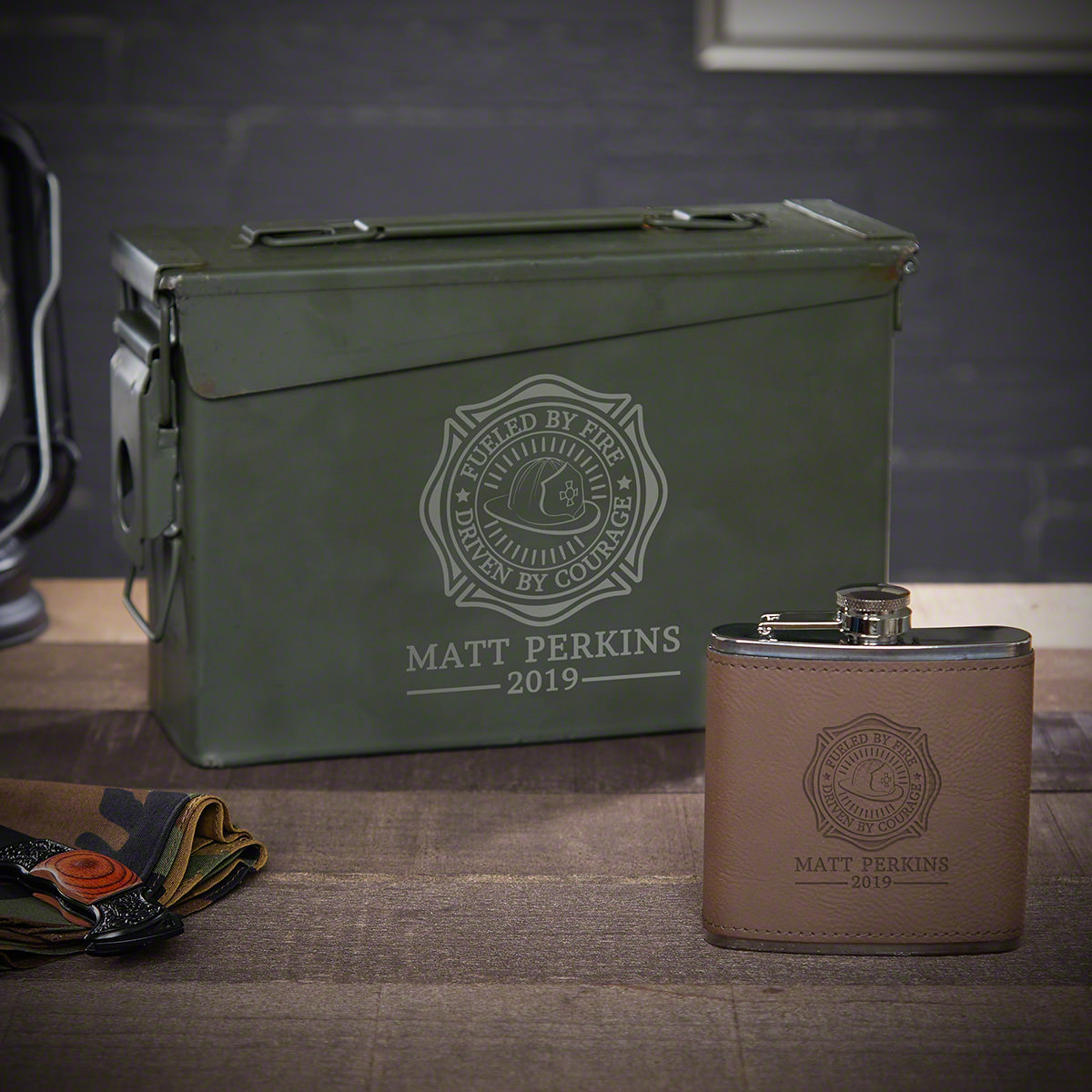 Fueled by Fire Custom Ammo Can Flask Set - Gift for Firefighter