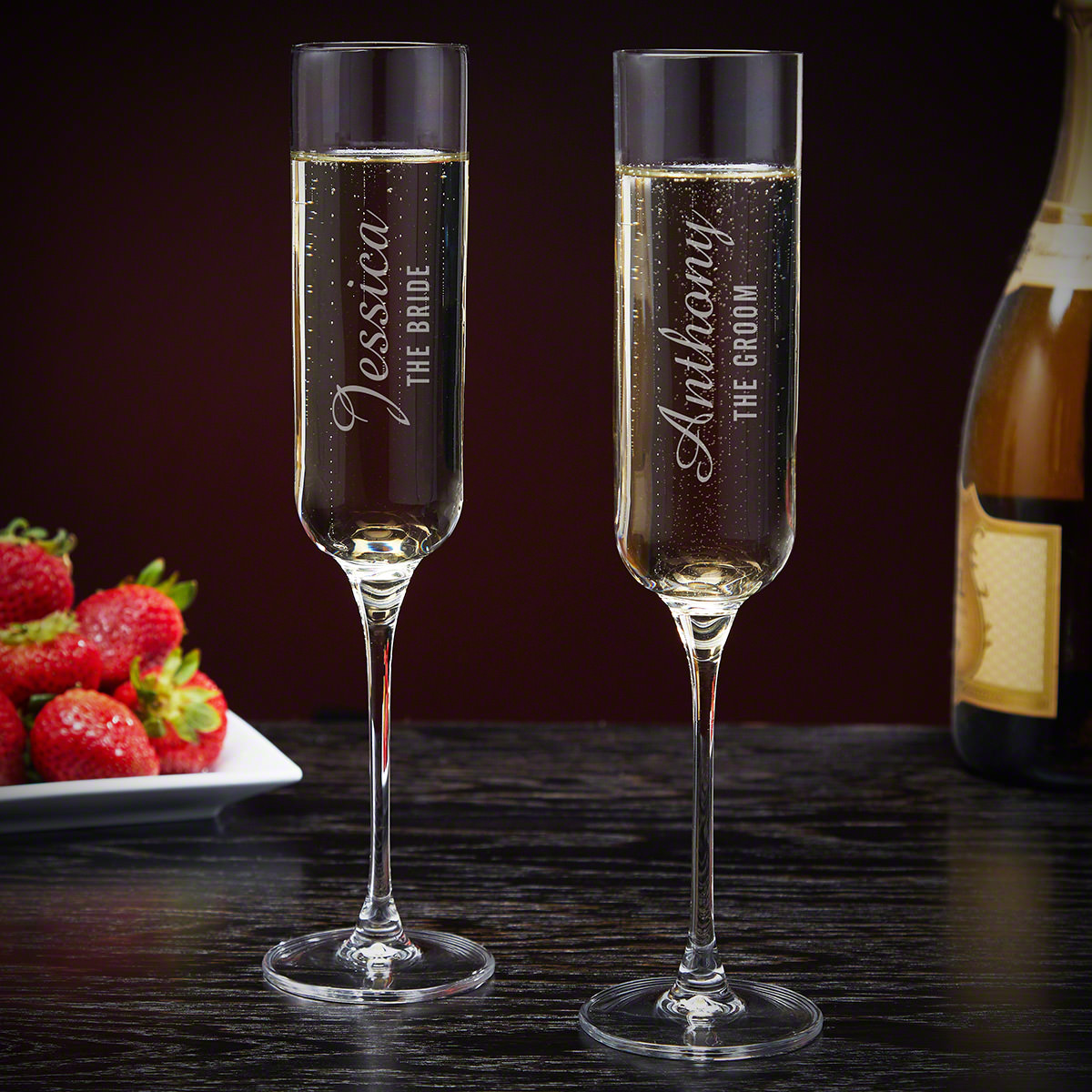 Wedding Party Engraved His and Hers Champagne Glasses