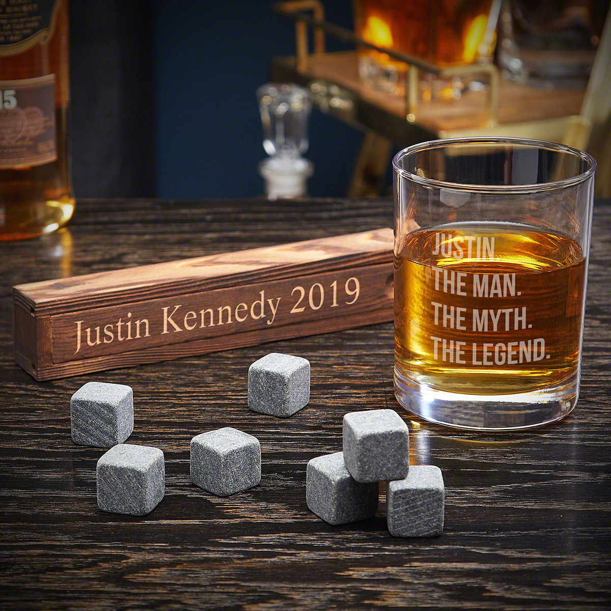 The Man The Myth The Legend Custom Whiskey Stone Gift Set