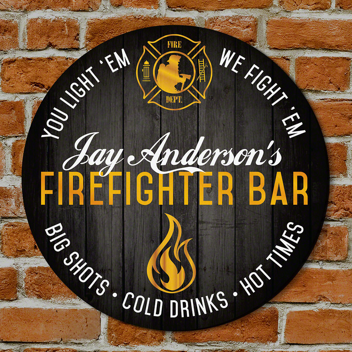 Give the incredible firefighter in your life a custom bar sign to compliment his home or station that he'll love forever. With two lines of customizable text, this gift for firefighters has a bold design that catches the eye immediately. This is a fun b #bar