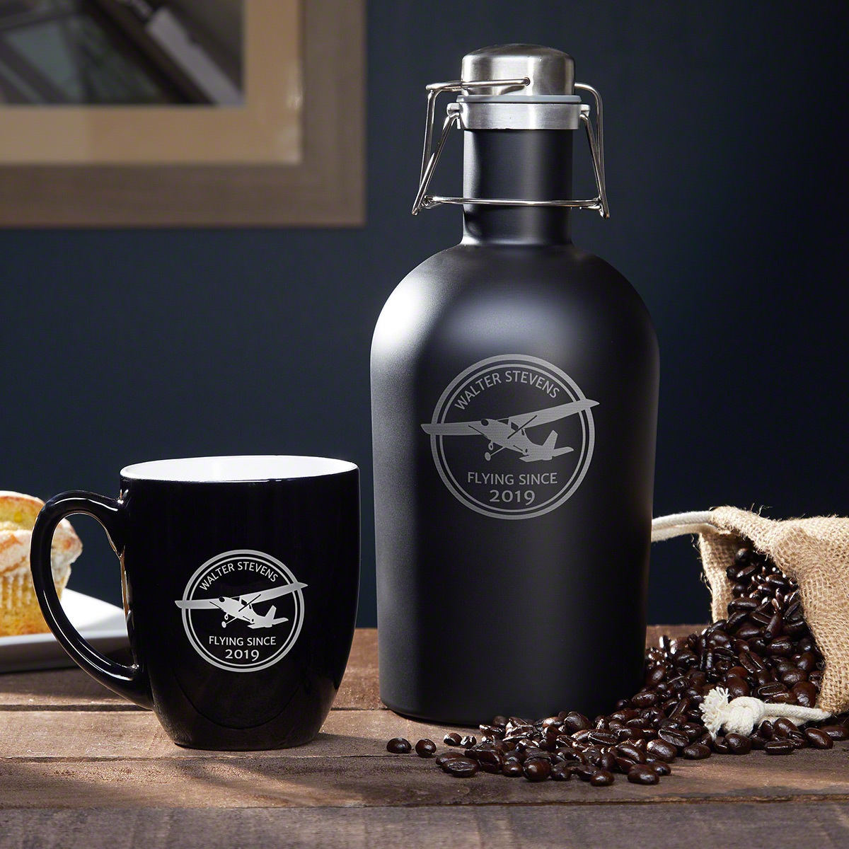 Aviator Personalized Coffee Set - Gift for Pilots