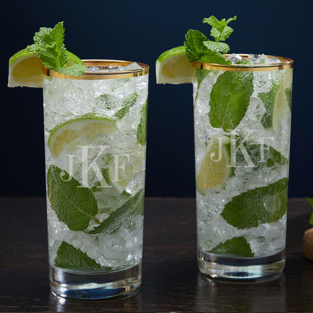 Classic Monogram Custom Gold Rim Mojito Glass Set