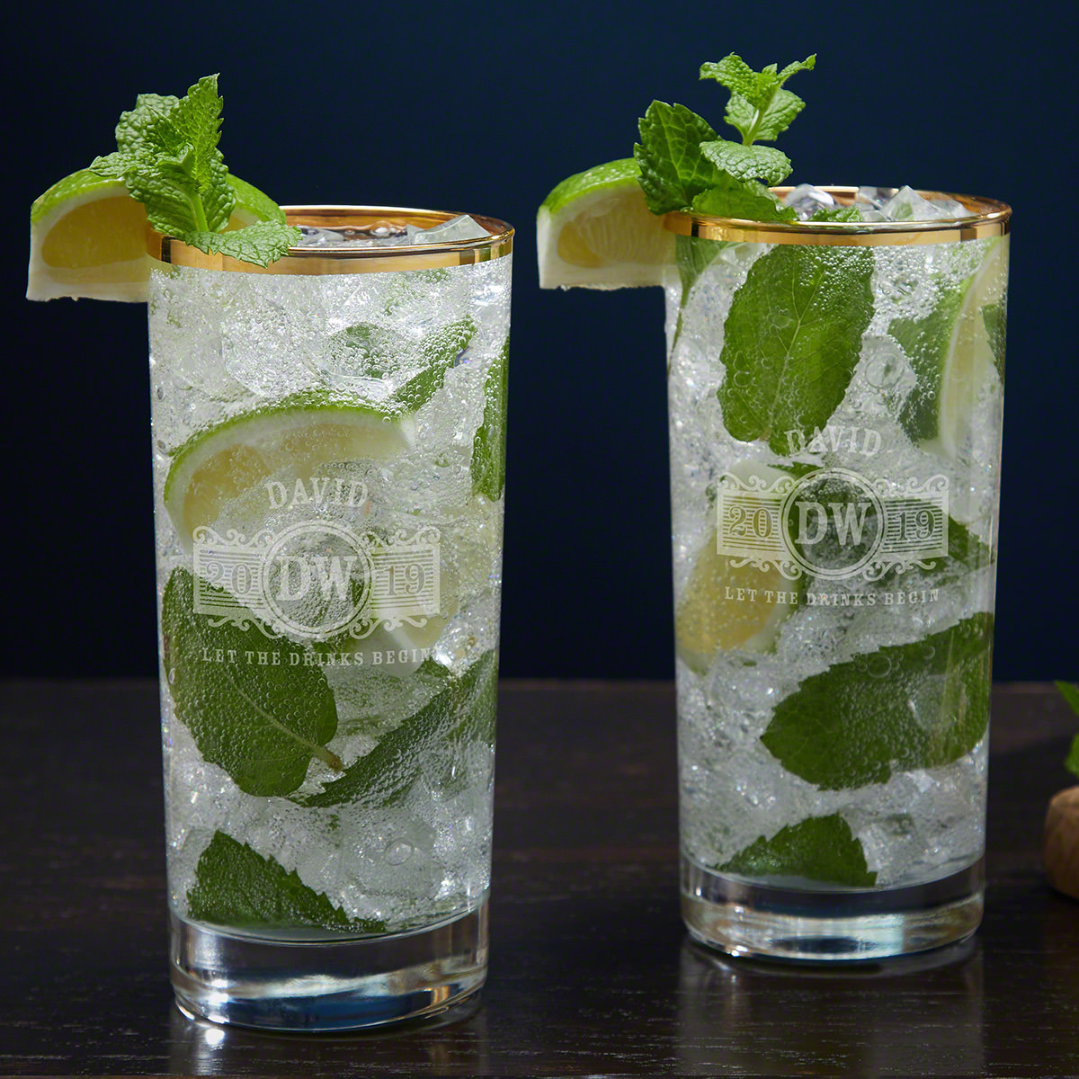 Marquee Engraved Gold Rim Mojito Glass Set