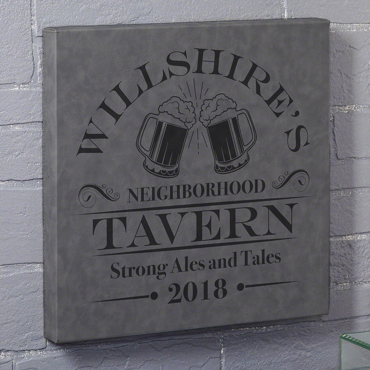 Is your home known as the local watering hole where everyone comes to drink? Now you can make it official with this awesome custom canvas bar sign. Made of gray leatherette and laser engraved, this canvas comes personalized with your name, two lines of te #bar